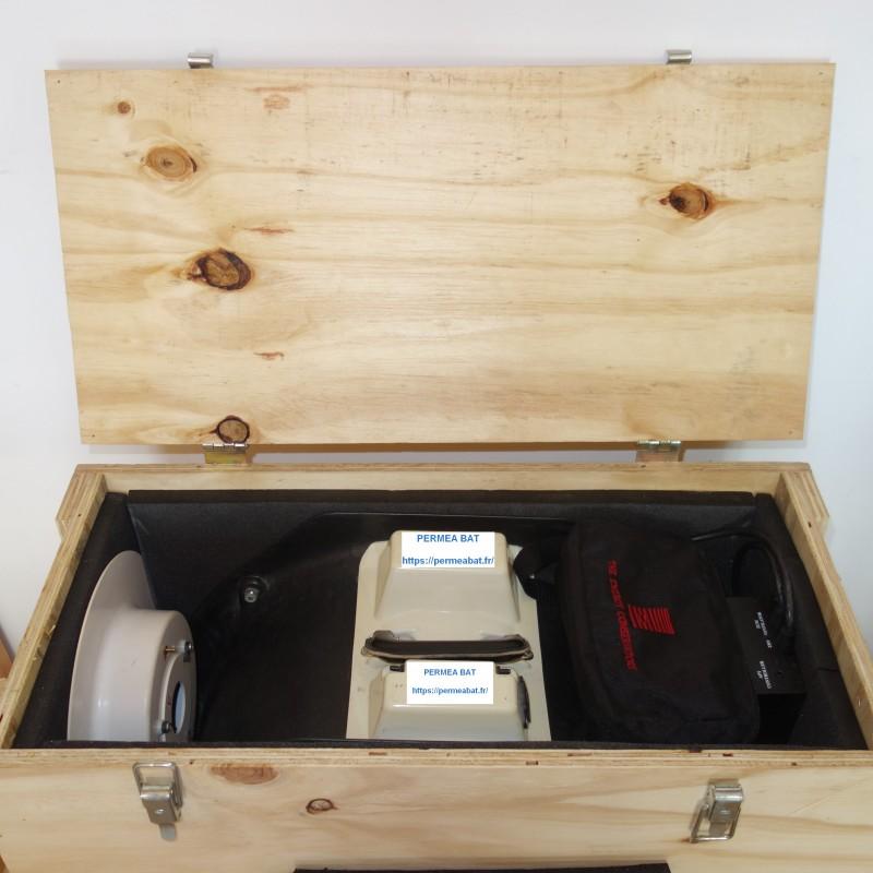Exemple caisse ventilateur Blower Door, alimentation, diaphragmes, manomètre DG700 pour le transport lors de l'étalonnage.